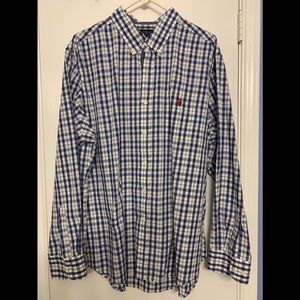 US Polo Assn -Blue and white long sleeve shirt